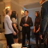 "Riverdale -- ""Chapter Sixteen: The Watcher in the Woods"" -- Image Number: RVD203a_0050b -- Pictured (L-R): Lili Reinhart as Betty Cooper, Camila Mendes as Veronica, Mark Consuelos as Hiram Lodge, Marisol Nichols as Hermione Lodge and Cole Sprouse as Jughead -- Photo: Bettina Strauss /The CW -- © 2017 The CW Network. All Rights Reserved"