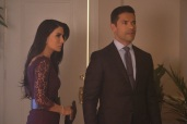 """Riverdale -- """"Chapter Sixteen: The Watcher in the Woods"""" -- Image Number: RVD203a_0183b -- Pictured (L-R): Marisol Nichols as Hermione Lodge and Mark Consuelos as Hiram Lodge -- Photo: Bettina Strauss /The CW -- © 2017 The CW Network. All Rights Reserved"""