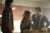 """Riverdale -- """"Chapter Sixteen: The Watcher in the Woods"""" -- Image Number: RVD203b_0250b.jpg -- Pictured (L-R): Jordan Connor as Sweet Pea, Vanessa Morgan as Toni Topaz and Cole Sprouse as Jughead Jones -- Photo: Bettina Strauss /The CW -- © 2017 The CW Network. All Rights Reserved"""